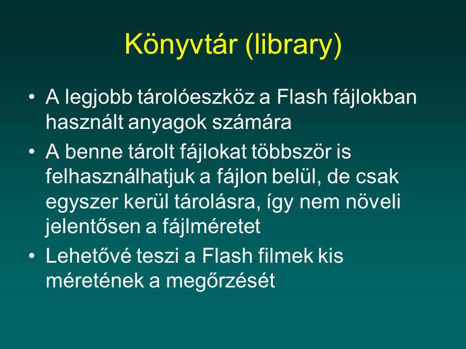 Könyvtár (library) A legjobb tárolóeszköz a Flash fájlokban használt anyagok számára A benne tárolt fájlokat többször is felhasználhatjuk a fájlon bel