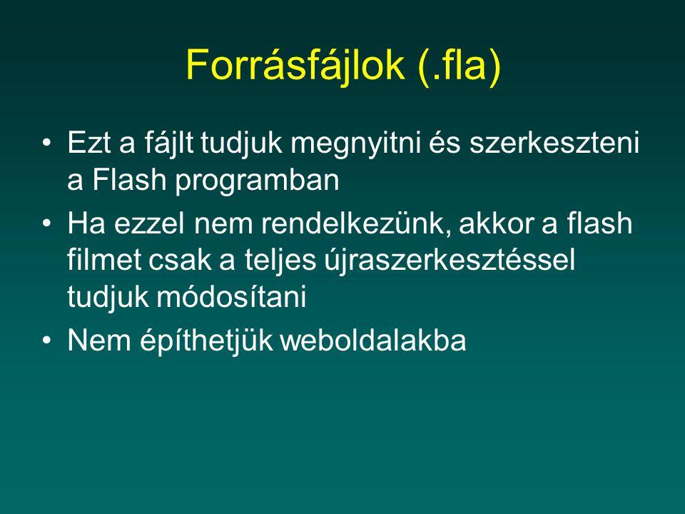 Forrásfájlok (.fla) Ezt a fájlt tudjuk megnyitni és szerkeszteni a Flash programban Ha ezzel nem rendelkezünk, akkor a flash filmet csak a teljes újra