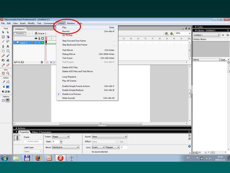 Terjesztett fájlok (.swf) Ha a forrásfájl elkészült, és készen állunk a terjesztésére, akkor mentsük ebbe a formátumba Ezt bárki megnézheti, aki böngészővel és annak a Flash Player bővítményével rendelkezik Ezt nem lehet szerkeszteni, csak megtekinteni.
