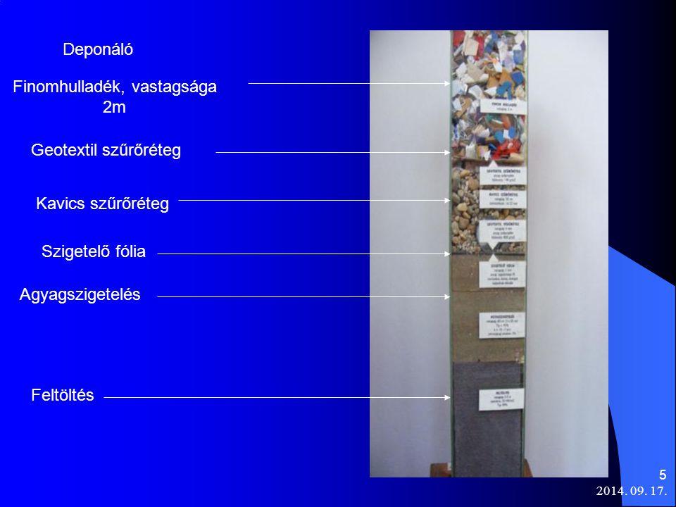 2014. 09. 17. 5 Deponáló Finomhulladék, vastagsága 2m Geotextil szűrőréteg Kavics szűrőréteg Szigetelő fólia Agyagszigetelés Feltöltés