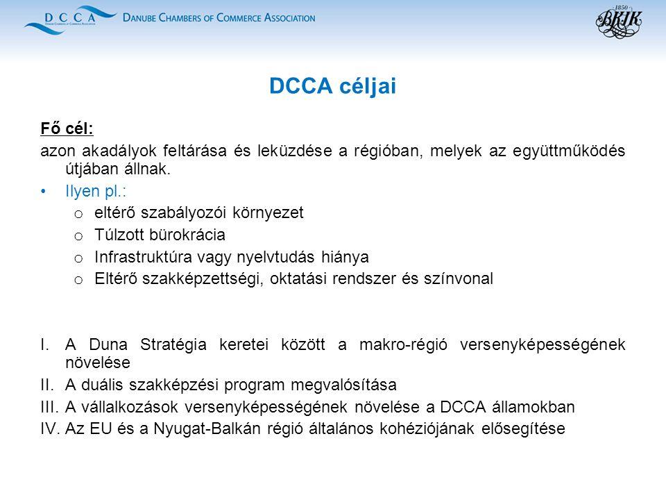 DCCA céljai Fő cél: azon akadályok feltárása és leküzdése a régióban, melyek az együttműködés útjában állnak.