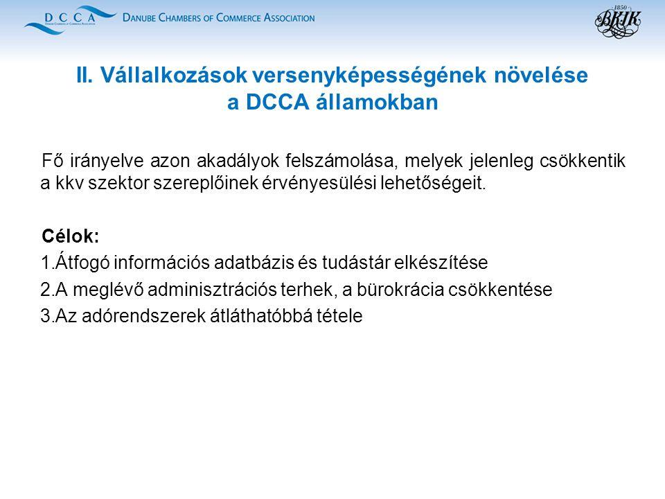 II. Vállalkozások versenyképességének növelése a DCCA államokban Fő irányelve azon akadályok felszámolása, melyek jelenleg csökkentik a kkv szektor sz