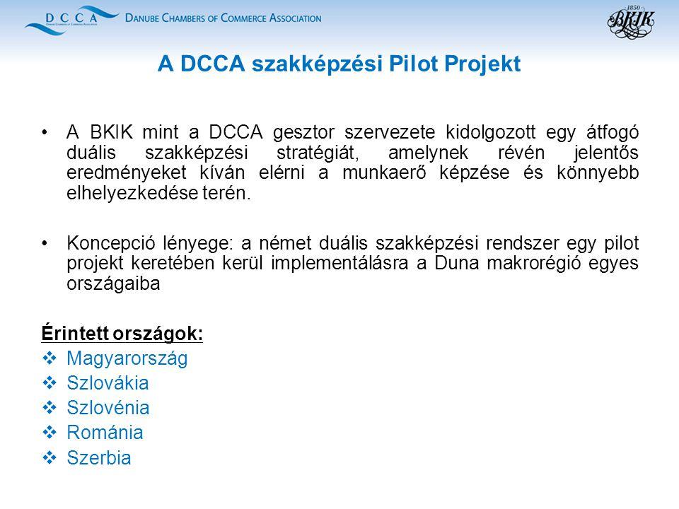 A DCCA szakképzési Pilot Projekt A BKIK mint a DCCA gesztor szervezete kidolgozott egy átfogó duális szakképzési stratégiát, amelynek révén jelentős eredményeket kíván elérni a munkaerő képzése és könnyebb elhelyezkedése terén.
