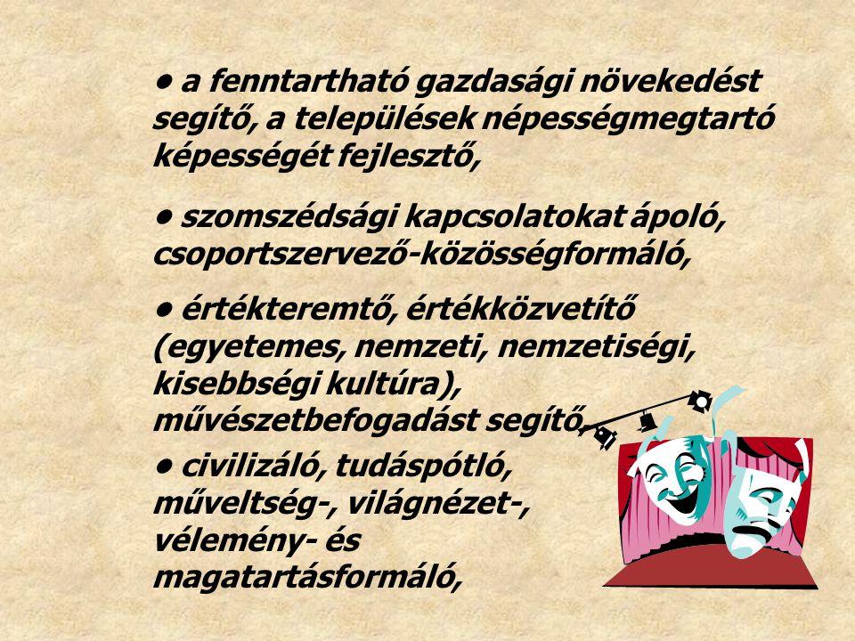 civilizáló, tudáspótló, műveltség-, világnézet-, vélemény- és magatartásformáló, értékteremtő, értékközvetítő (egyetemes, nemzeti, nemzetiségi, kisebb
