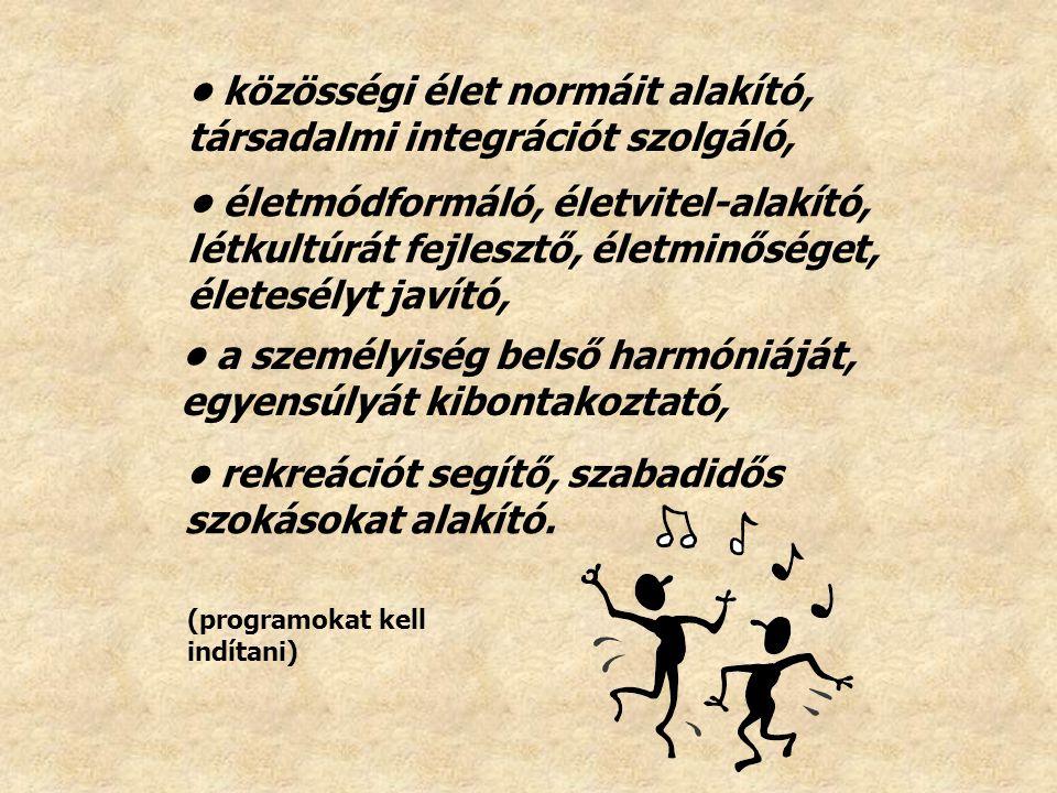 rekreációt segítő, szabadidős szokásokat alakító. életmódformáló, életvitel-alakító, létkultúrát fejlesztő, életminőséget, életesélyt javító, közösség