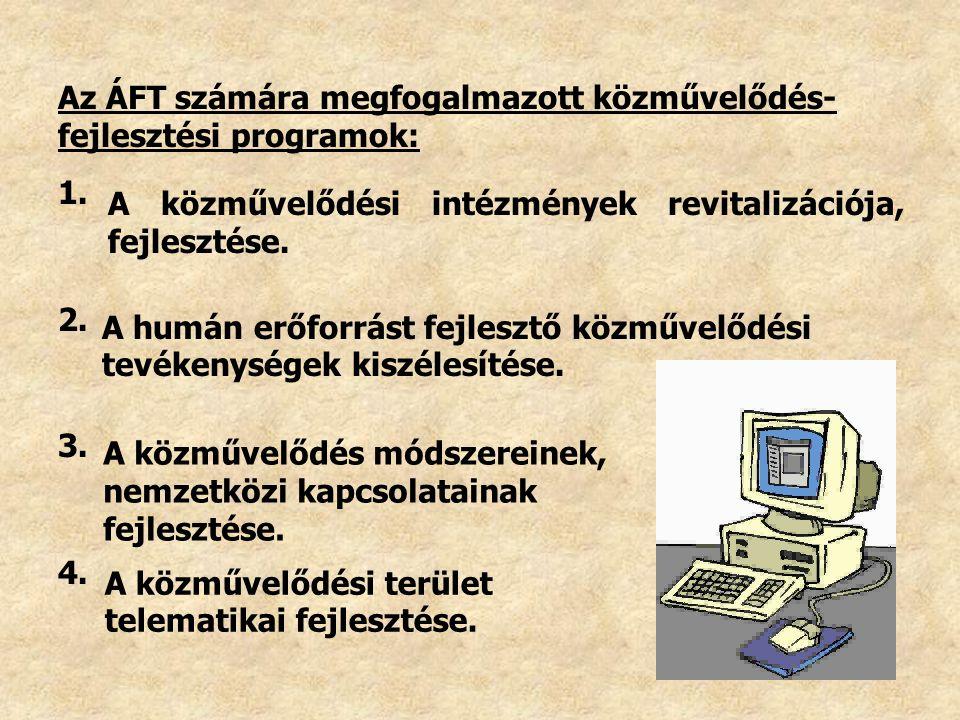Az ÁFT számára megfogalmazott közművelődés- fejlesztési programok: A közművelődési intézmények revitalizációja, fejlesztése. 1. 2. 3. 4. A humán erőfo