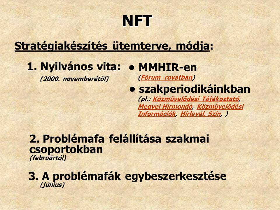 NFT Stratégiakészítés ütemterve, módja: 1. Nyilvános vita: (2000. novemberétől) MMHIR-en (Fórum rovatban)Fórum rovatban szakperiodikáinkban (pl.: Közm