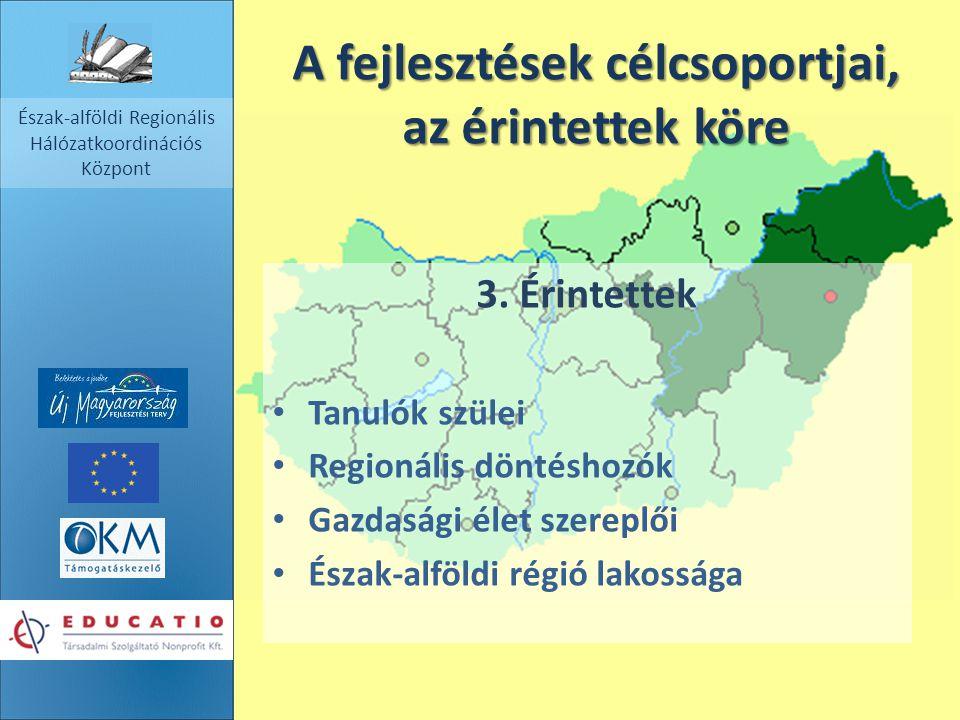 Észak-alföldi Regionális Hálózatkoordinációs Központ A fejlesztések célcsoportjai, az érintettek köre 3. Érintettek Tanulók szülei Regionális döntésho