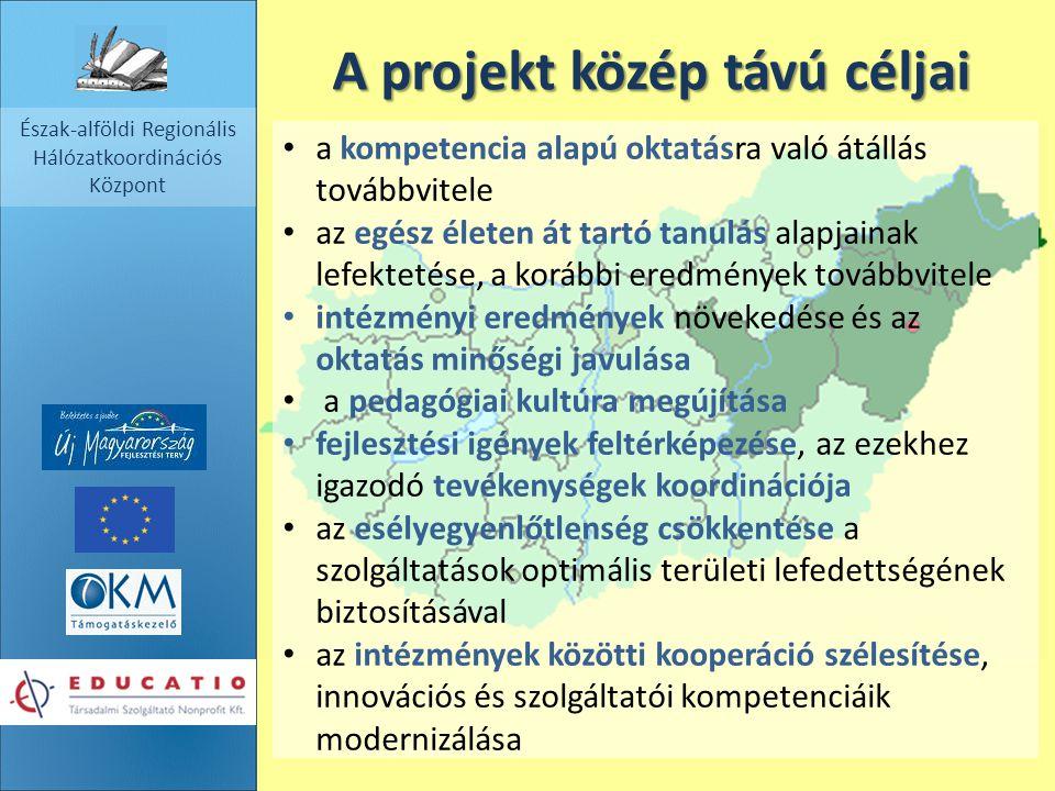 Észak-alföldi Regionális Hálózatkoordinációs Központ A projekt közép távú céljai a kompetencia alapú oktatásra való átállás továbbvitele az egész élet
