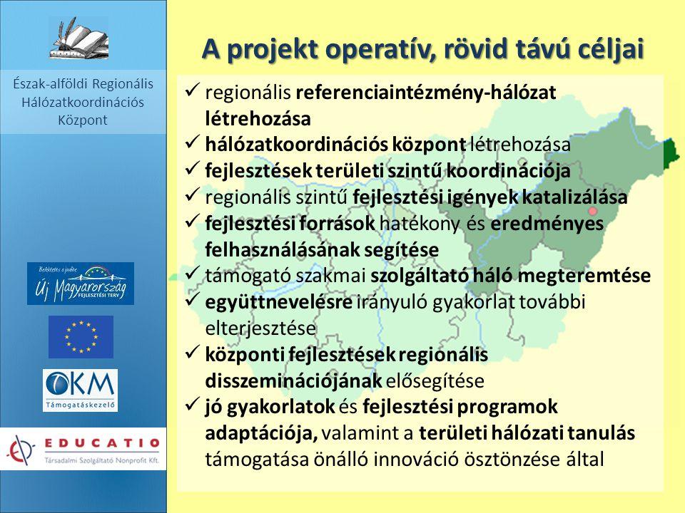 Észak-alföldi Regionális Hálózatkoordinációs Központ A projekt operatív, rövid távú céljai regionális referenciaintézmény-hálózat létrehozása hálózatk