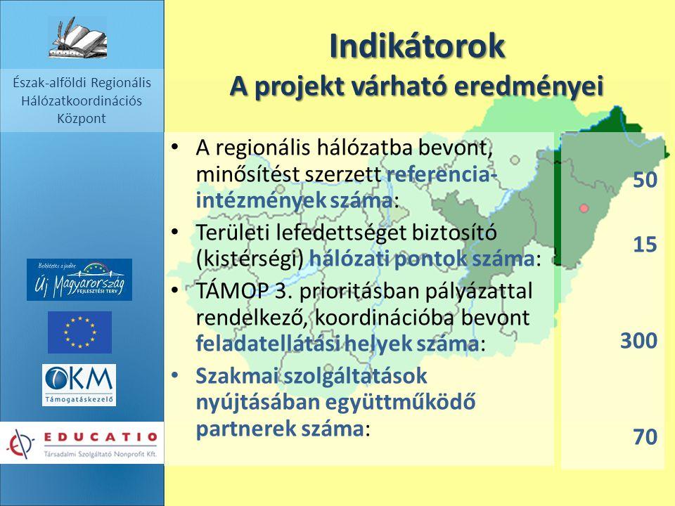 2014. 09. 17. Észak-alföldi Regionális Hálózatkoordinációs Központ Indikátorok A projekt várható eredményei A regionális hálózatba bevont, minősítést