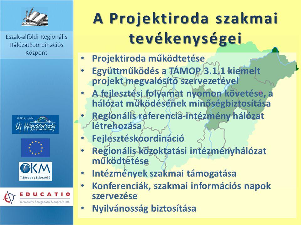 Észak-alföldi Regionális Hálózatkoordinációs Központ A Projektiroda szakmai tevékenységei Projektiroda működtetése Együttműködés a TÁMOP 3.1.1 kiemelt