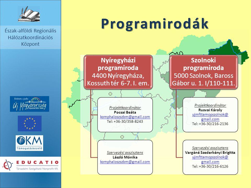 Észak-alföldi Regionális Hálózatkoordinációs Központ Programirodák Nyíregyházi programiroda 4400 Nyíregyháza, Kossuth tér 6-7. I. em. Projektkoordinát