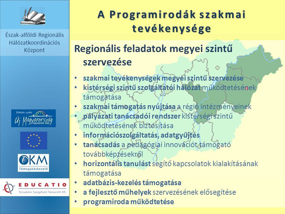 Észak-alföldi Regionális Hálózatkoordinációs Központ A Programirodák szakmai tevékenysége Regionális feladatok megyei szintű szervezése szakmai tevéke