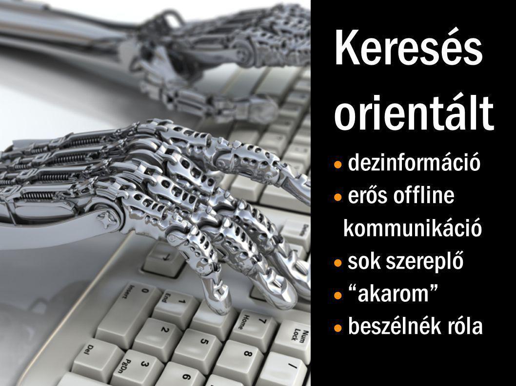 Keresés orientált  dezinformáció  erős offline kommunikáció  sok szereplő  akarom  beszélnék róla