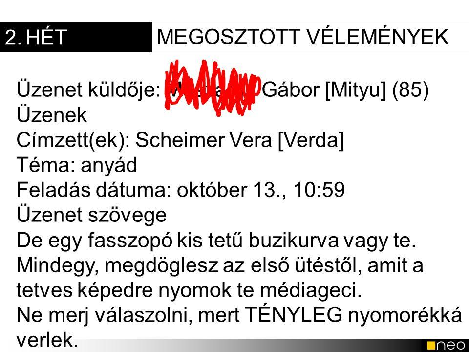 2. HÉT Üzenet küldője: Mészáros Gábor [Mityu] (85) Üzenek Címzett(ek): Scheimer Vera [Verda] Téma: anyád Feladás dátuma: október 13., 10:59 Üzenet szö