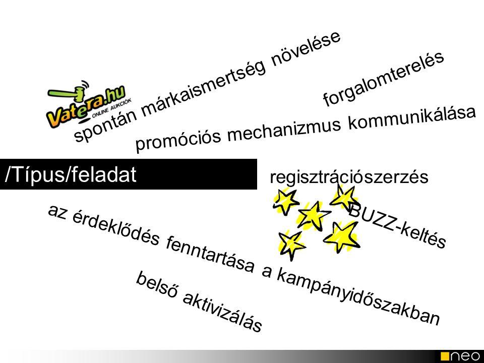 /Típus/feladat regisztrációszerzés forgalomterelés belső aktivizálás promóciós mechanizmus kommunikálása az érdeklődés fenntartása a kampányidőszakban
