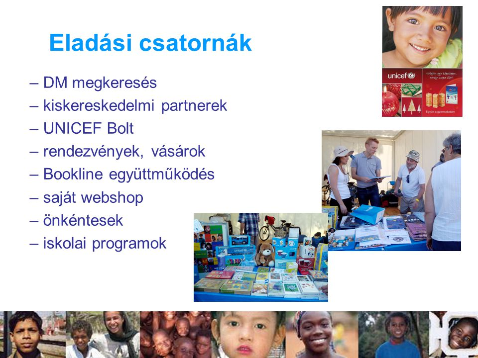 – DM megkeresés – kiskereskedelmi partnerek – UNICEF Bolt – rendezvények, vásárok – Bookline együttműködés – saját webshop – önkéntesek – iskolai programok Eladási csatornák