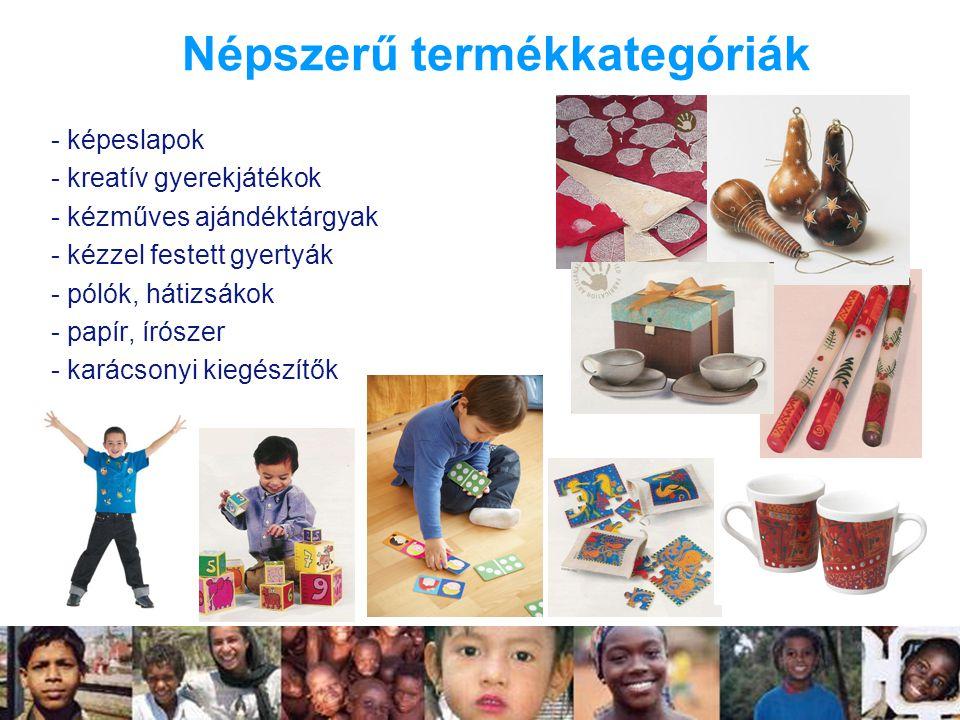 Népszerű termékkategóriák - képeslapok - kreatív gyerekjátékok - kézműves ajándéktárgyak - kézzel festett gyertyák - pólók, hátizsákok - papír, írószer - karácsonyi kiegészítők
