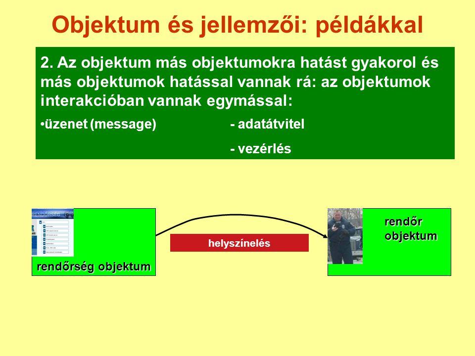 Objektum és jellemzői: példákkal 2. Az objektum más objektumokra hatást gyakorol és más objektumok hatással vannak rá: az objektumok interakcióban van