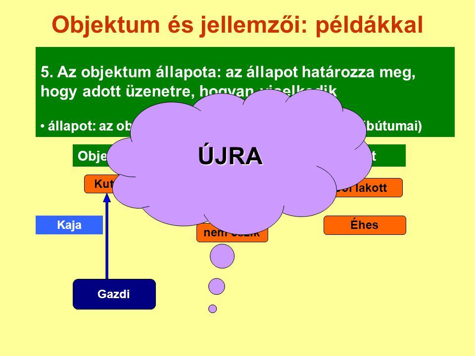 Objektum és jellemzői: példákkal 5. Az objektum állapota: az állapot határozza meg, hogy adott üzenetre, hogyan viselkedik állapot: az objektum pillan