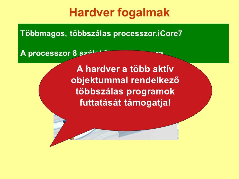 Hardver fogalmak Többmagos, többszálas processzor.iCore7 A processzor 8 szálat futtat egyszerre A hardver a több aktív objektummal rendelkező többszál