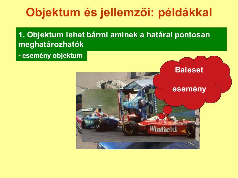Objektum és jellemzői: példákkal 1. Objektum lehet bármi aminek a határai pontosan meghatározhatók esemény objektum Baleset esemény