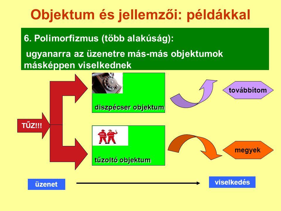 Objektum és jellemzői: példákkal 6. Polimorfizmus (több alakúság): diszpécser objektum TŰZ!!! üzenet viselkedés tűzoltó objektum továbbítom megyek ugy
