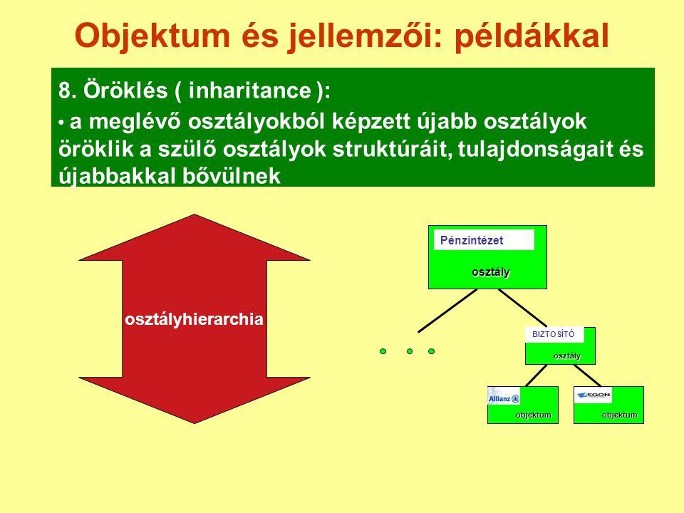Objektum és jellemzői: példákkal 8. Öröklés ( inharitance ): a meglévő osztályokból képzett újabb osztályok öröklik a szülő osztályok struktúráit, tul