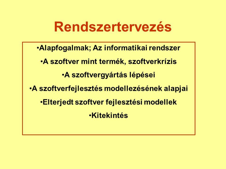 Rendszertervezés Alapfogalmak; Az informatikai rendszer A szoftver mint termék, szoftverkrízis A szoftvergyártás lépései A szoftverfejlesztés modellez