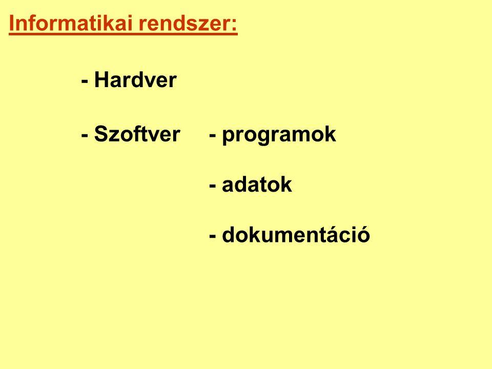 Informatikai rendszer: - Hardver - Szoftver- programok - adatok - dokumentáció