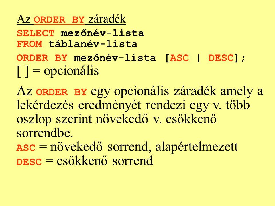 Az ORDER BY záradék SELECT mezőnév-lista FROM táblanév-lista ORDER BY mezőnév-lista [ASC | DESC]; [ ] = opcionális Az ORDER BY egy opcionális záradék