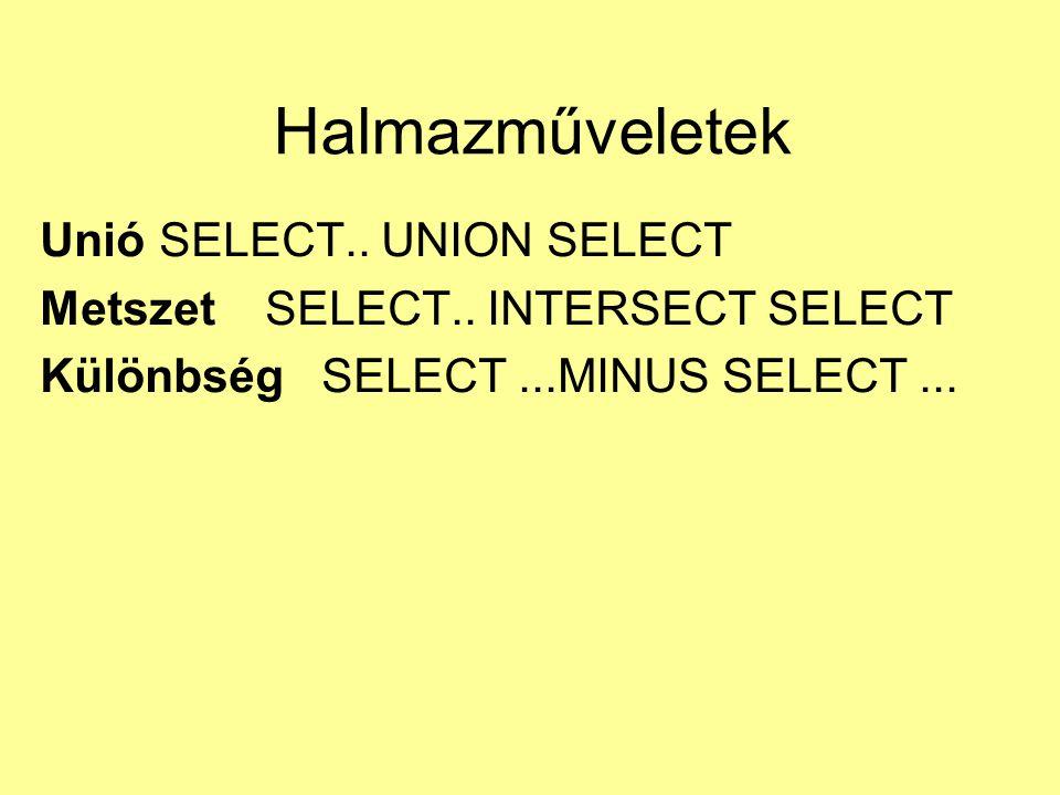 Halmazműveletek Unió SELECT.. UNION SELECT Metszet SELECT.. INTERSECT SELECT Különbség SELECT...MINUS SELECT...