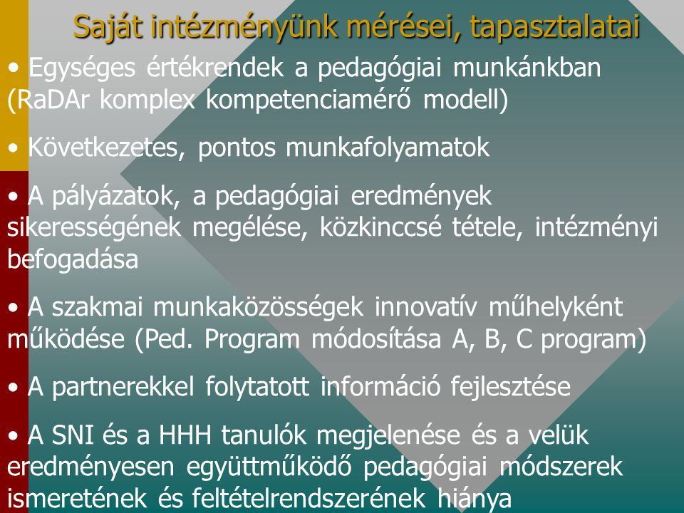Saját intézményünk mérései, tapasztalatai Egységes értékrendek a pedagógiai munkánkban (RaDAr komplex kompetenciamérő modell) Következetes, pontos mun