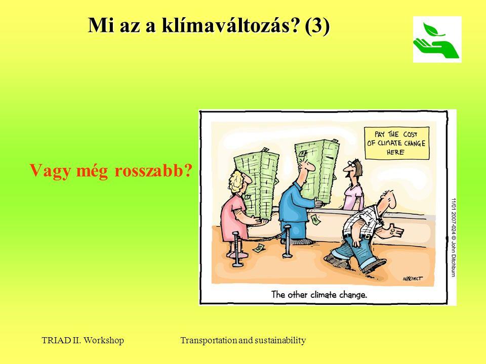 TRIAD II. WorkshopTransportation and sustainability Mi az a klímaváltozás (3) Vagy még rosszabb