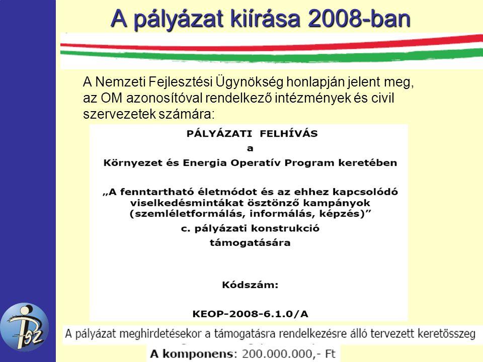 A pályázat kiírása 2008-ban A Nemzeti Fejlesztési Ügynökség honlapján jelent meg, az OM azonosítóval rendelkező intézmények és civil szervezetek számára: