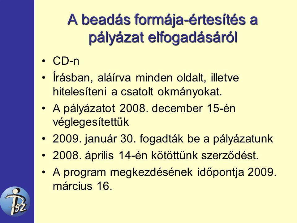 A beadás formája-értesítés a pályázat elfogadásáról CD-n Írásban, aláírva minden oldalt, illetve hitelesíteni a csatolt okmányokat.