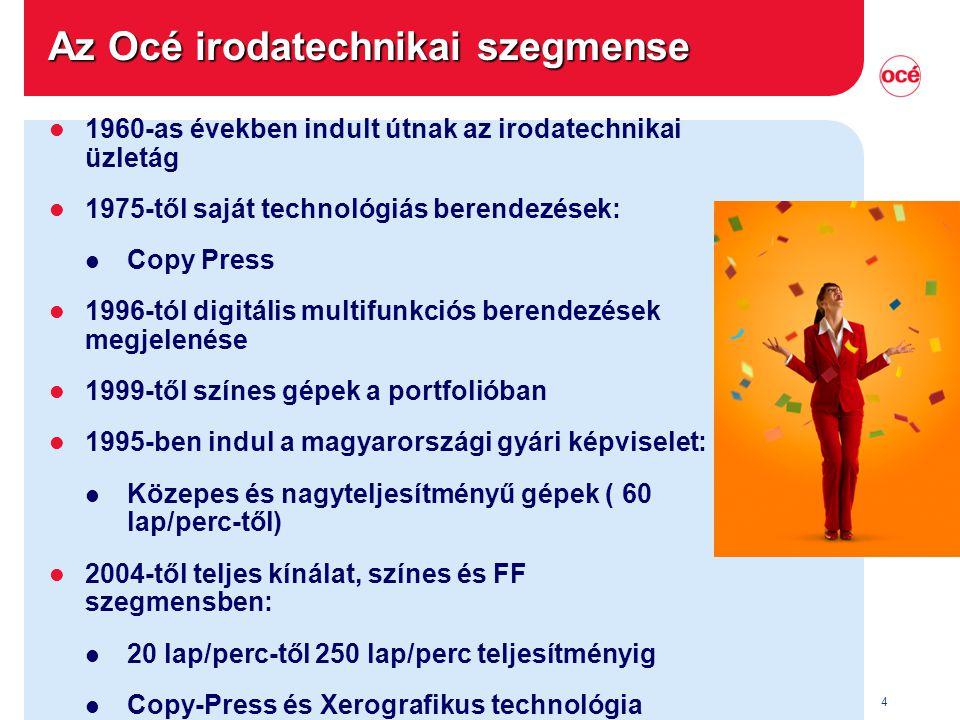 4 Az Océ irodatechnikai szegmense l 1960-as években indult útnak az irodatechnikai üzletág l 1975-től saját technológiás berendezések: l Copy Press l