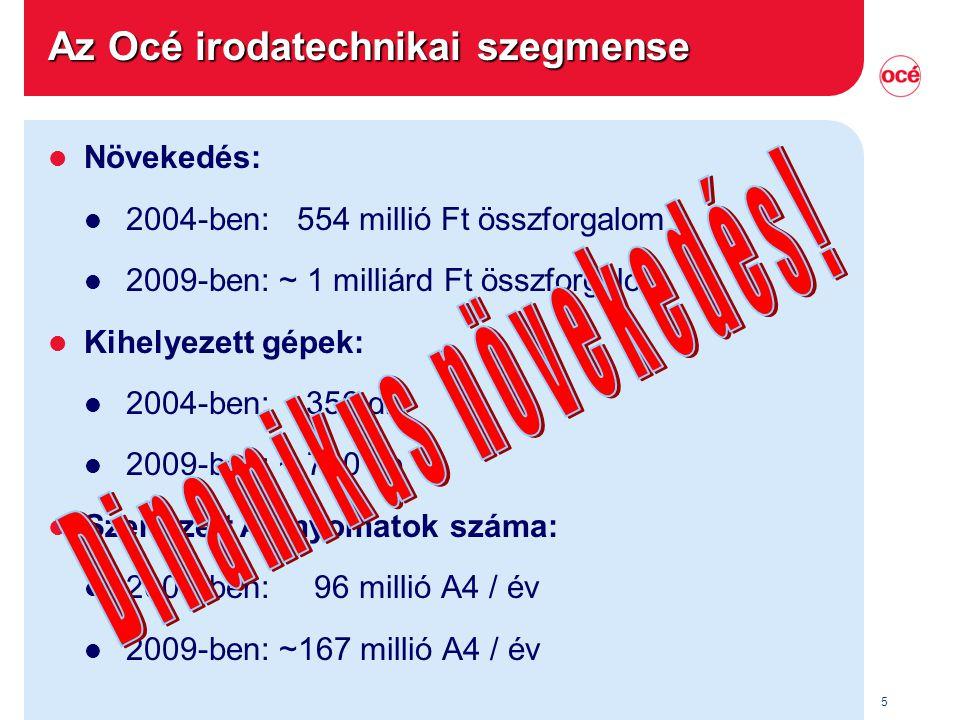 5 Az Océ irodatechnikai szegmense l Növekedés: l 2004-ben: 554 millió Ft összforgalom l 2009-ben: ~ 1 milliárd Ft összforgalom l Kihelyezett gépek: l