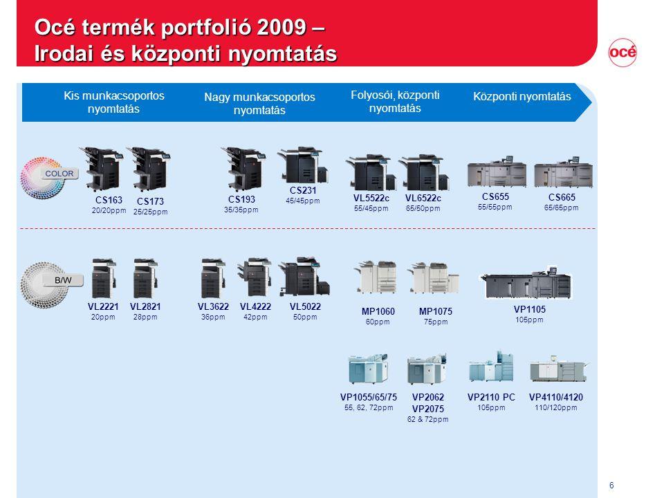 6 CS655 55/55ppm VP4110/4120 110/120ppm CS193 35/35ppm CS231 45/45ppm Océ termék portfolió 2009 – Irodai és központi nyomtatás Központi nyomtatás Foly