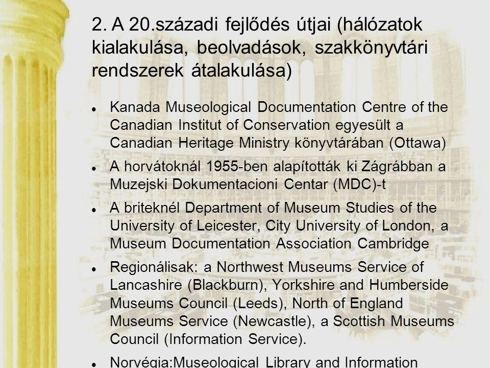 Kanada Museological Documentation Centre of the Canadian Institut of Conservation egyesült a Canadian Heritage Ministry könyvtárában (Ottawa) A horvát