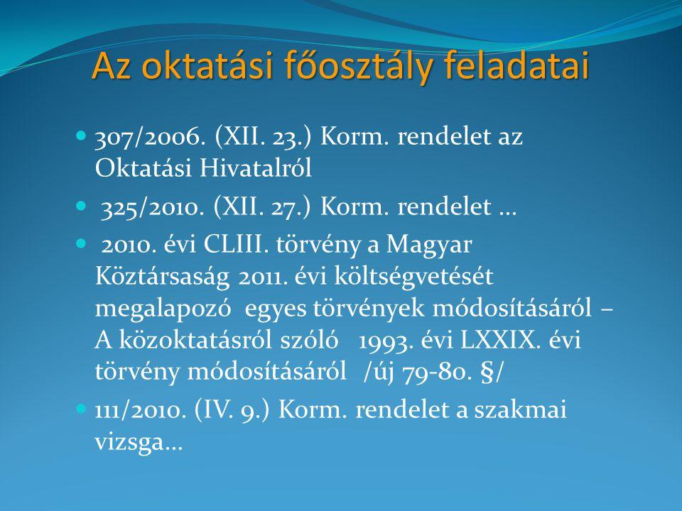 Az oktatási főosztály feladatai 307/2006. (XII. 23.) Korm. rendelet az Oktatási Hivatalról 325/2010. (XII. 27.) Korm. rendelet... 2010. évi CLIII. tör
