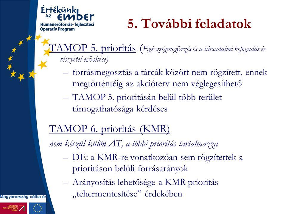 5. További feladatok TAMOP 5. prioritás ( Egészségmegőrzés és a társadalmi befogadás és részvétel erősítése) –forrásmegosztás a tárcák között nem rögz
