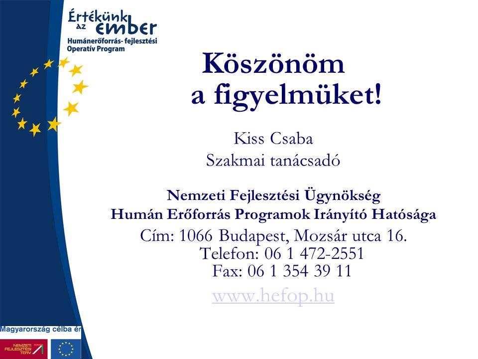 Köszönöm a figyelmüket! Kiss Csaba Szakmai tanácsadó Nemzeti Fejlesztési Ügynökség Humán Erőforrás Programok Irányító Hatósága Cím: 1066 Budapest, Moz