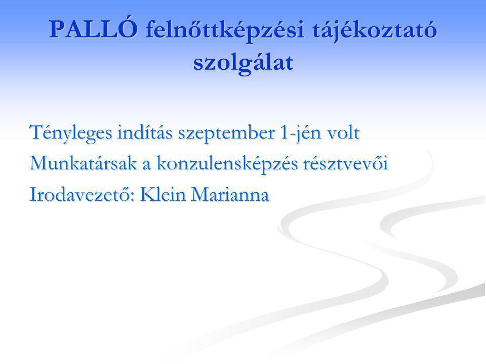 PALLÓ felnőttképzési tájékoztató szolgálat Tényleges indítás szeptember 1-jén volt Munkatársak a konzulensképzés résztvevői Irodavezető: Klein Marianna