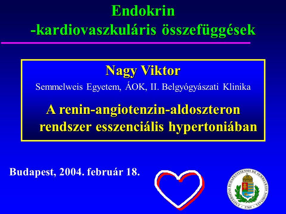Endokrin -kardiovaszkuláris összefüggések Budapest, 2004. február 18. Nagy Viktor Semmelweis Egyetem, ÁOK, II. Belgyógyászati Klinika A renin-angioten