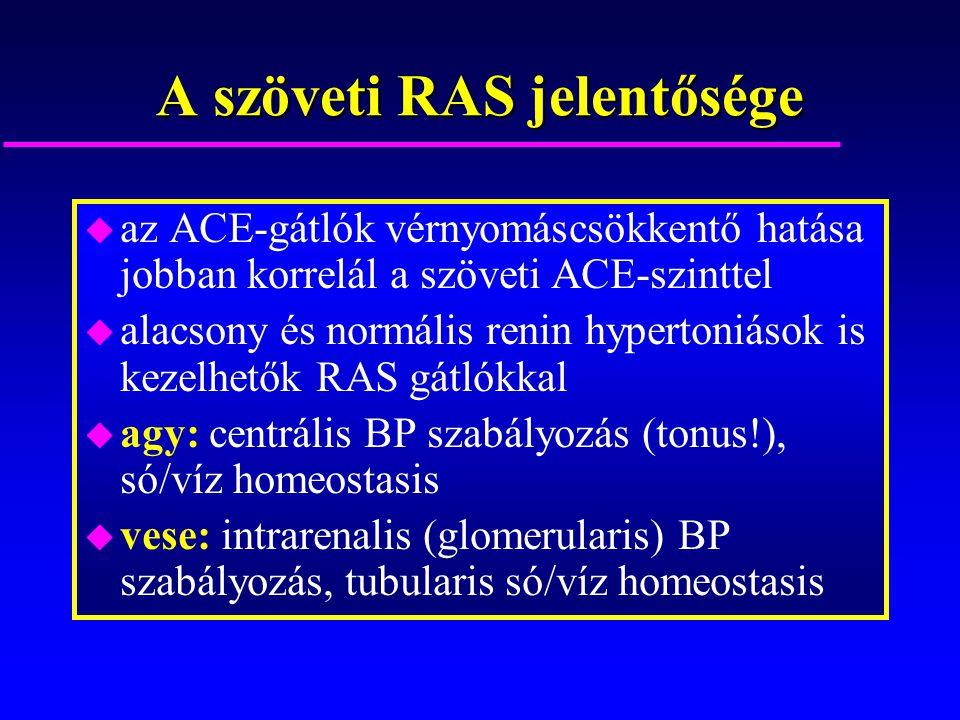 A szöveti RAS jelentősége u az ACE-gátlók vérnyomáscsökkentő hatása jobban korrelál a szöveti ACE-szinttel u alacsony és normális renin hypertoniások