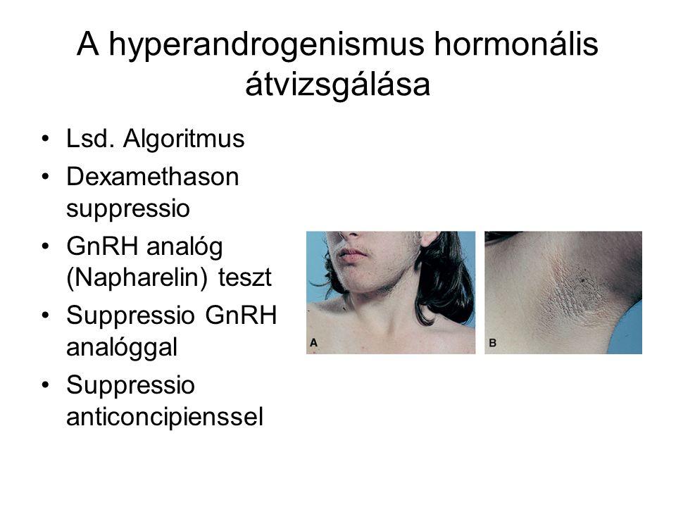 A hyperandrogenismus hormonális átvizsgálása Lsd. Algoritmus Dexamethason suppressio GnRH analóg (Napharelin) teszt Suppressio GnRH analóggal Suppress