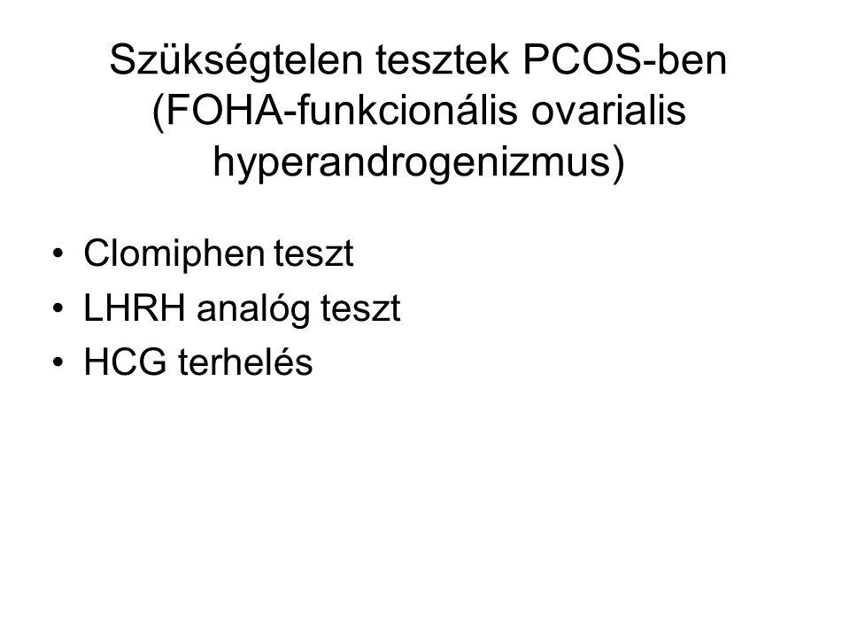 Szükségtelen tesztek PCOS-ben (FOHA-funkcionális ovarialis hyperandrogenizmus) Clomiphen teszt LHRH analóg teszt HCG terhelés