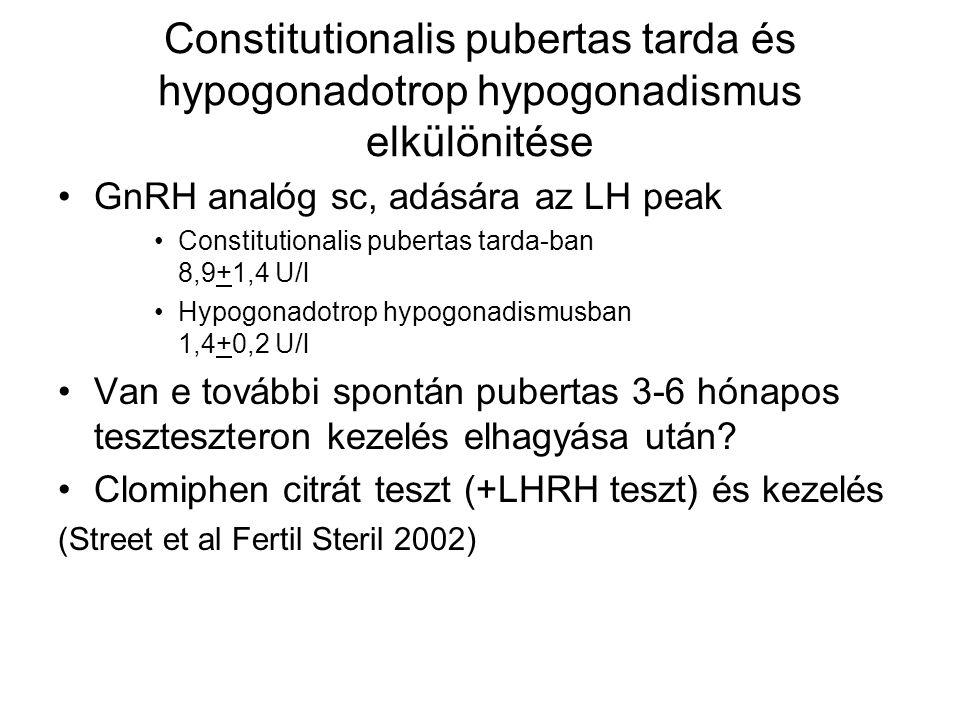 Constitutionalis pubertas tarda és hypogonadotrop hypogonadismus elkülönitése GnRH analóg sc, adására az LH peak Constitutionalis pubertas tarda-ban 8